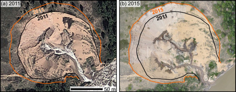 Figure 3: Advance in the new punchbowl from 2011 to 2015. Note the differences in stream pattern. This punchbowl was surveyed Summer 2015 with a UAV.